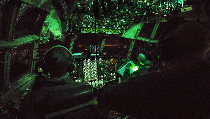910th Airmen conduct night flights in support of an aeromedical evacuation training mission